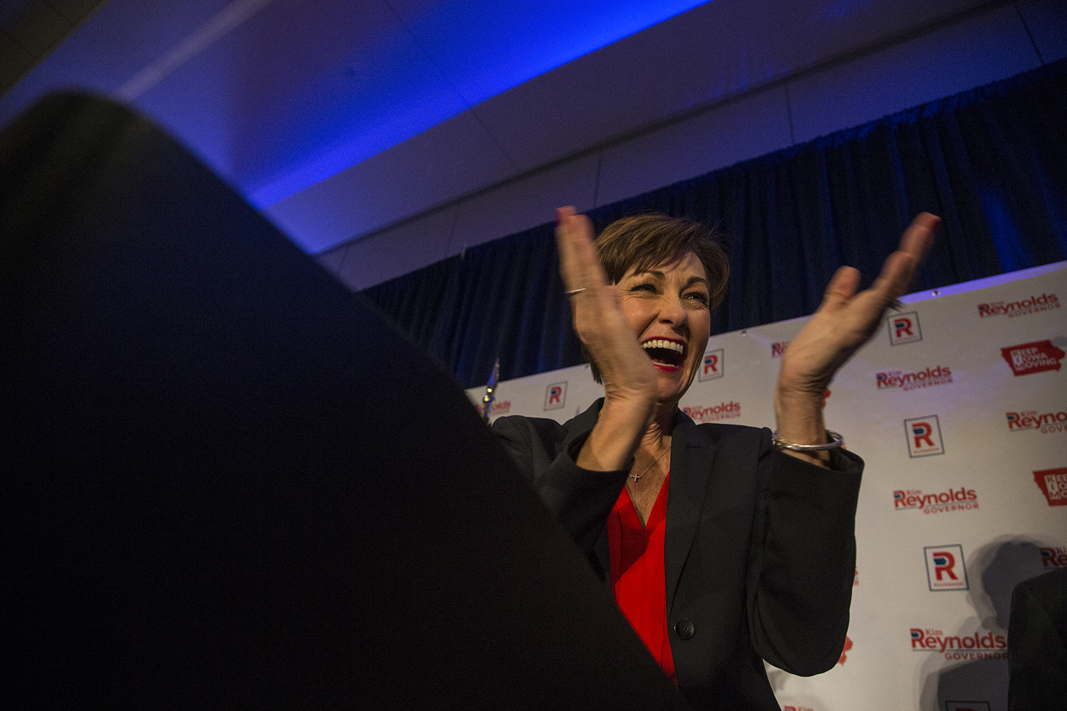 Gov. Kim Reynolds addresses her supporters at the Hilton in Des Moines on Wednesday, Nov. 7, 2018.