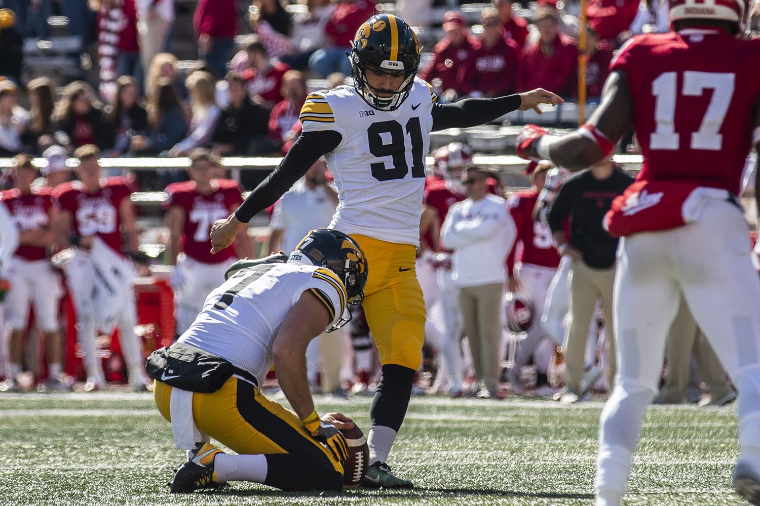 Iowa kicker Miguel Recinos kicks the ball during Iowa's game at Indiana at Memorial Stadium in Bloomington on Saturday, Oct. 13, 2018. The Hawkeyes beat the Hoosiers 42-16.