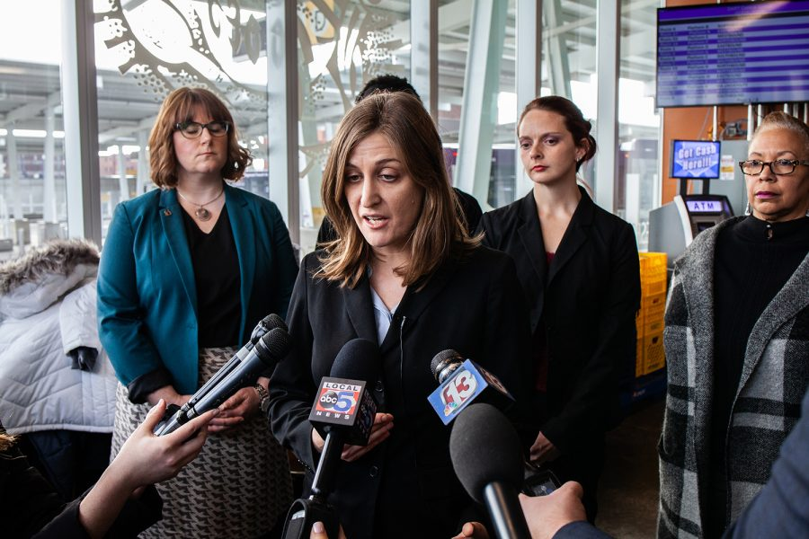 ACLU Legal Director Rita Bettis speaks to the press following a hearing on the fetal-heartbeat law at the Polk County Courthouse on Friday, December 7, 2018. The decision on whether or not to put the bill into effect that would ban abortions after a fetal heartbeat is detected, around six weeks, could take up to 60 days. (Wyatt Dlouhy/The Daily Iowan)