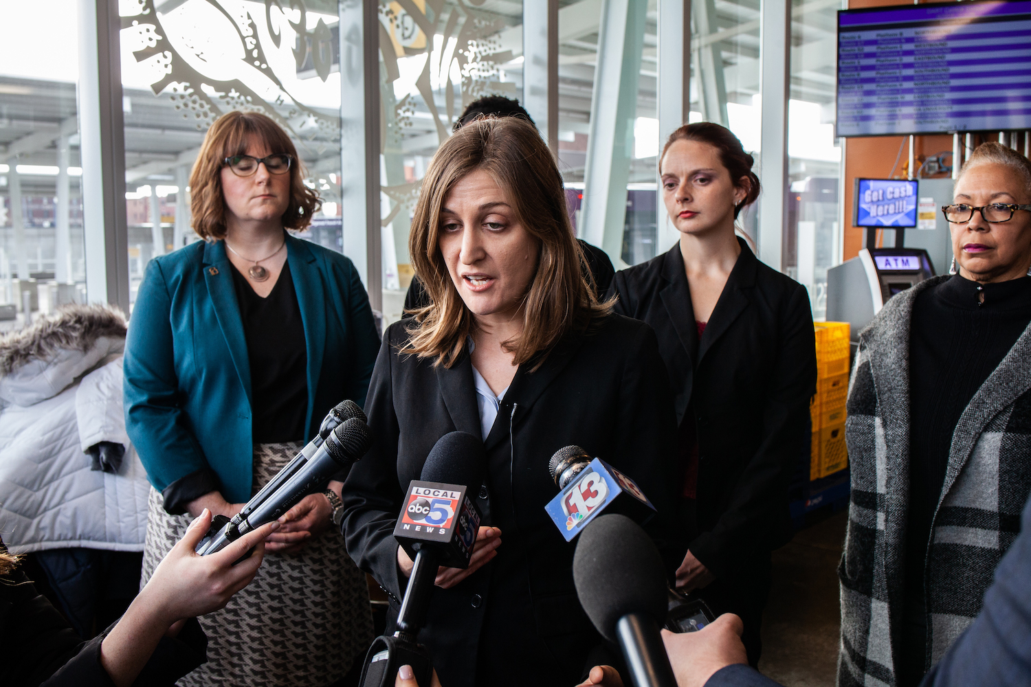 ACLU Legal Director Rita Betis speaks to the press following the Heartbeat Bill hearing at the Polk County Courthouse on Friday, Dec. 7, 2018.