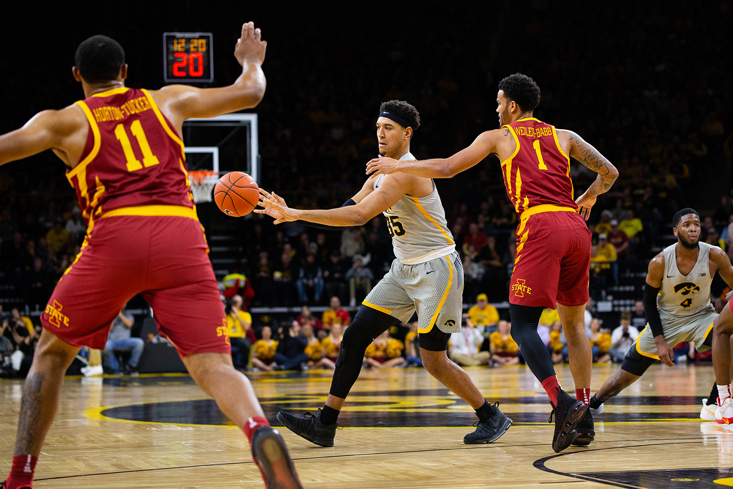 Iowa forward Cordell Pemsl catches a pass during Iowa's game against Iowa State at Carver-Hawkeye Arena on December 6, 2018. The Hawkeyes defeated the Cyclones 98-84.(Megan Nagorzanski/The Daily Iowan)