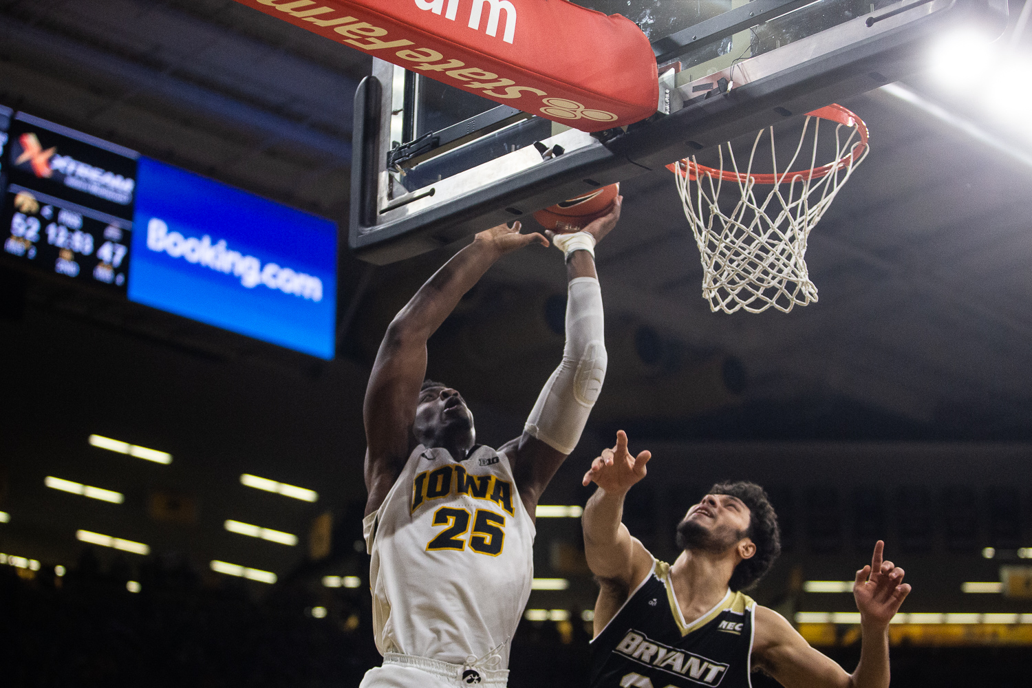 Iowa forward Tyler Cook goes up for a basket during the mens basketball game against Bryant University on Saturday, December 29, 2018. The Hawkeyes defeated the Bulldogs 72-67. (Wyatt Dlouhy/The Daily Iowan)