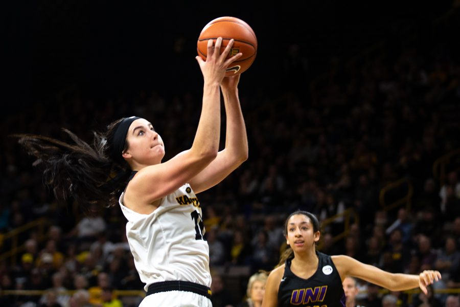 Iowa+forward+Megan+Gustafson+drives+the+ball+in+a+women%27s+basketball+game+against+the+University+of+Northern+Iowa+at+Carver-Hawkeye+Arena+on+Sunday%2C+Dec.+16%2C+2018.+The+Hawkeyes+beat+the+Panthers%2C+83-57.