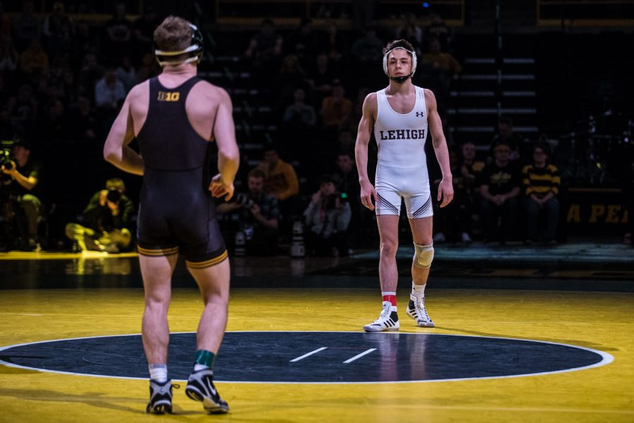 Lehigh%27s+Luke+Resnick+prepares+to+wrestle+Iowa%27s+Spencer+Lee+during+a+wrestling+dual-meet+between+Iowa+and+Lehigh+at+Carver-Hawkeye+Arena+on+Saturday%2C+Dec.+8%2C+2018.+The+Hawkeyes+defeated+the+Mountain+Hawks%2C+28-14.+