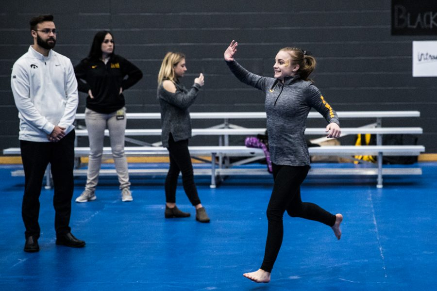 Iowa%27s+Lauren+Guerin+is+introduced+during+the+Women%27s+Gymnastics+Black+and+Gold+Intrasquad+Meet+in+the+Field+House+on+Saturday%2C+Dec.+1%2C+2018.+