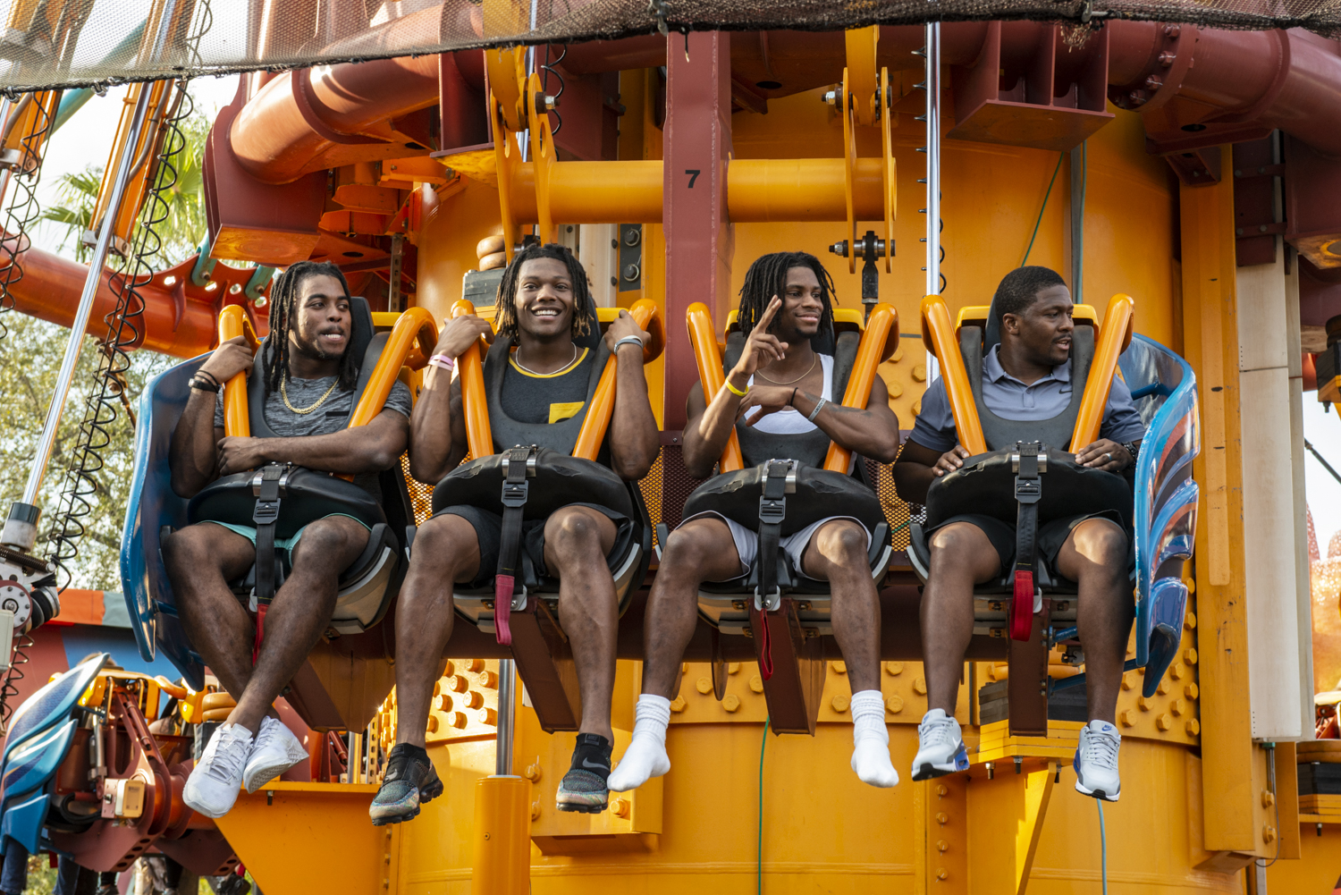 Iowa players ride the Falcon's Fury during a visit to Busch Gardens in Tampa, Florida on Saturday, December 29, 2018.