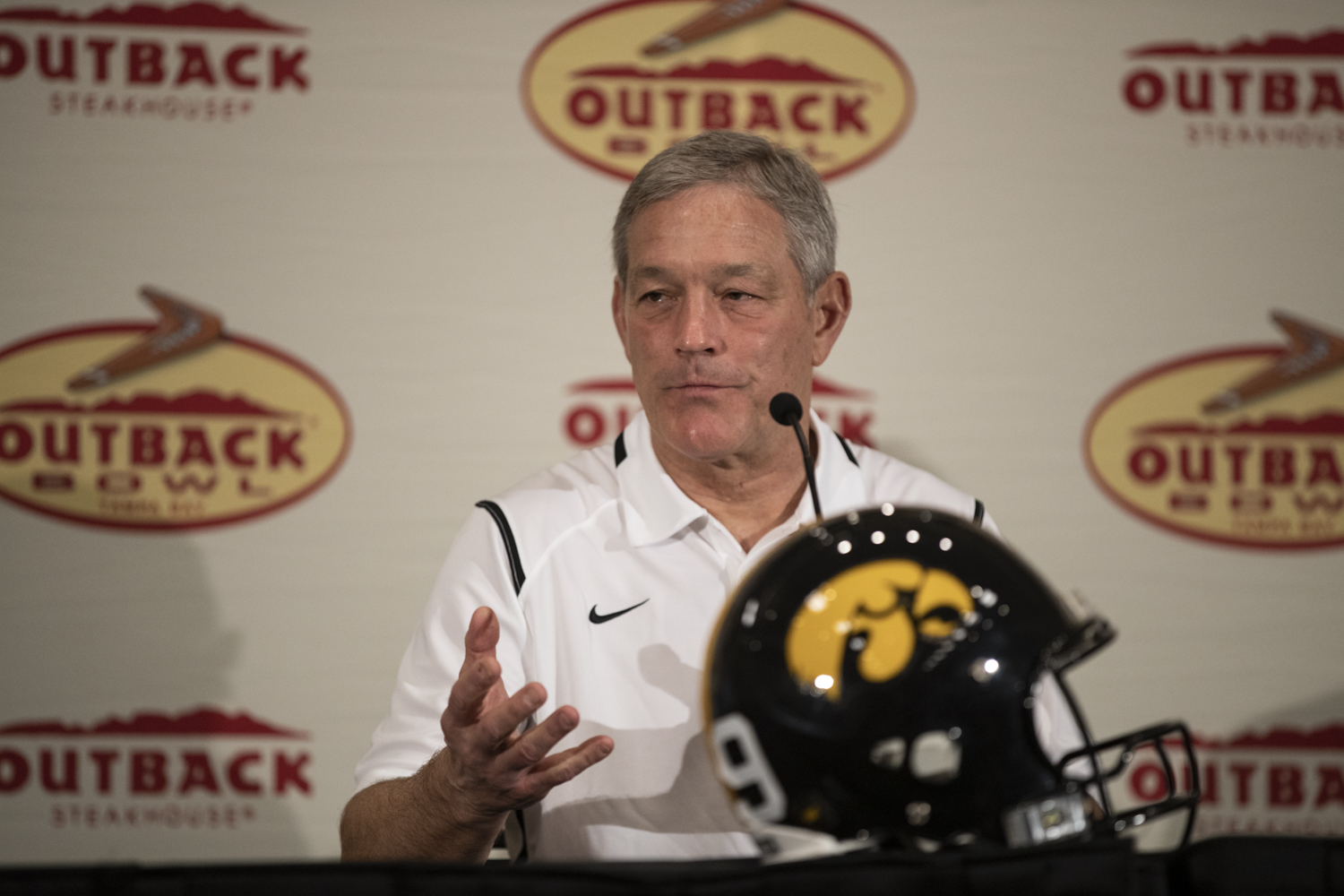 Iowa head coach Kirk Ferentz answers a question during a press conference  in Tampa, Florida on Saturday, December 29, 2018.