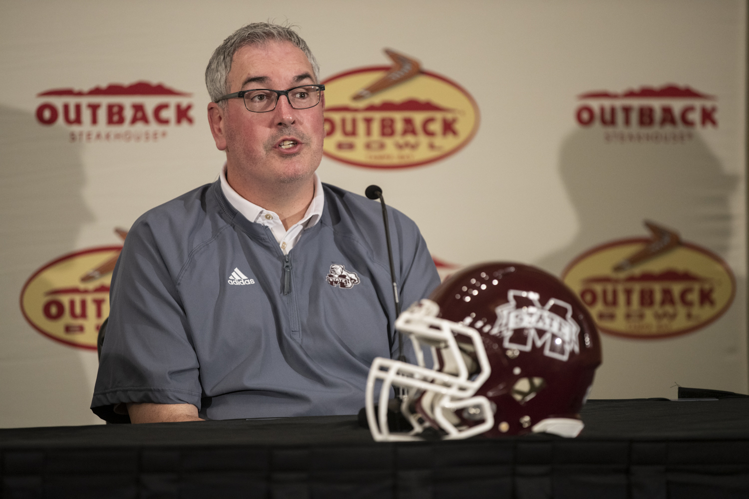 Mississippi State Head Coach Joe Moorhead answers a question during a press conference  in Tampa, Florida on Saturday, December 29, 2018.