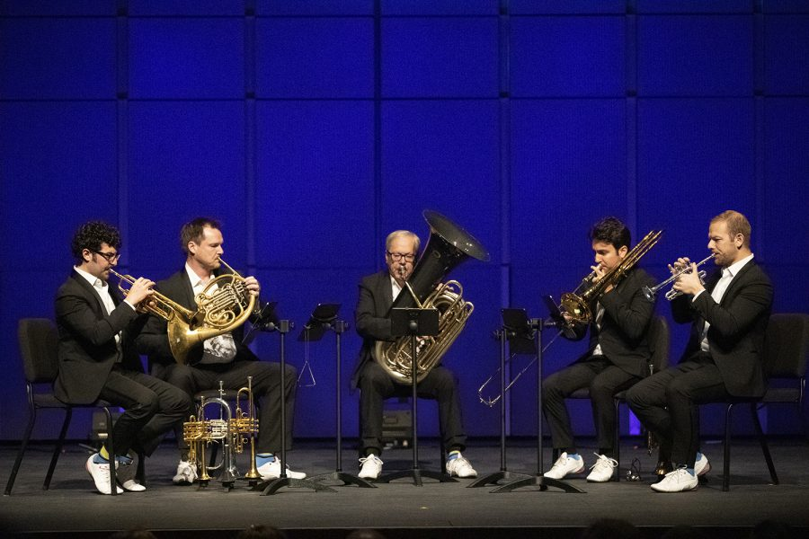 Canadian+Brass+performs+their+annual+Christmas+show+at+Hancher+Auditorium+on+Friday%2C+November+30%2C+2018.+The+band+performed+brass+renditions+of+classic+holiday+orchestral+pieces.+%28Tate+Hildyard%2F+The+Daily+Iowan%29