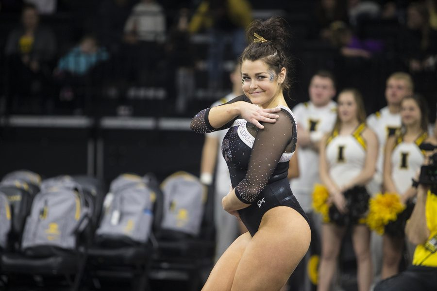 Iowa+gymnast+Erin+Castle+performs+on+the+floor+at+a+meet+against+Rutgers+on+Saturday%2C+January+26%2C+2019.+The+Hawkeyes+defeated+the+Scarlet+Knights+194.575+to+191.675.