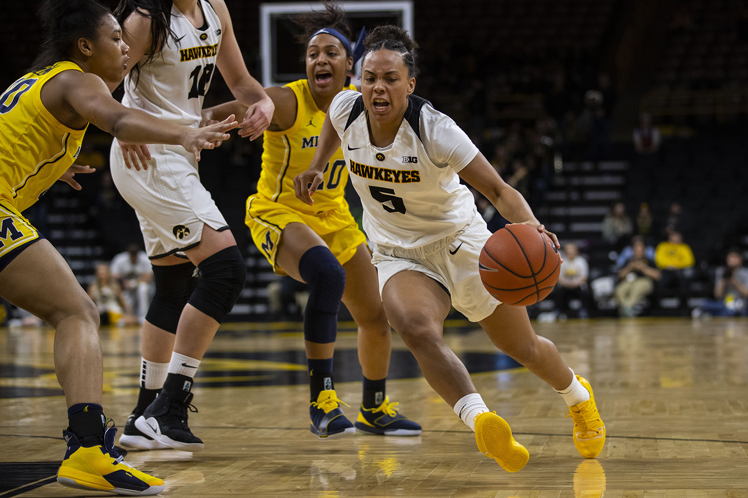 Iowa+guard+Alexis+Sevillian+drives+to+the+hoop+during+the+Iowa%2FMichigan+women%27s+basketball+game+at+Carver-Hawkeye+Arena+on+Thursday%2C+January+17%2C+2019.+The+Hawkeyes+defeated+the+Wolverines%2C+75-61.+