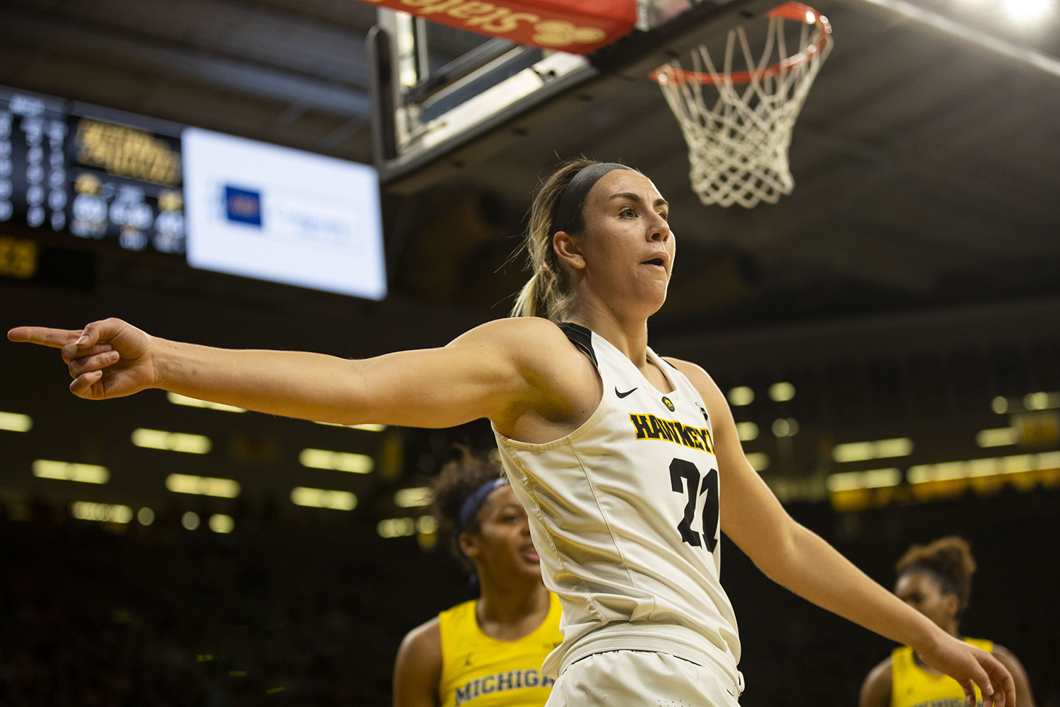 Iowa+forward+Hannah+Stewart+gestures+during+the+Iowa%2FMichigan+women%27s+basketball+game+at+Carver-Hawkeye+Arena+on+Thursday%2C+January+17%2C+2019.+The+Hawkeyes+defeated+the+Wolverines%2C+75-61.+