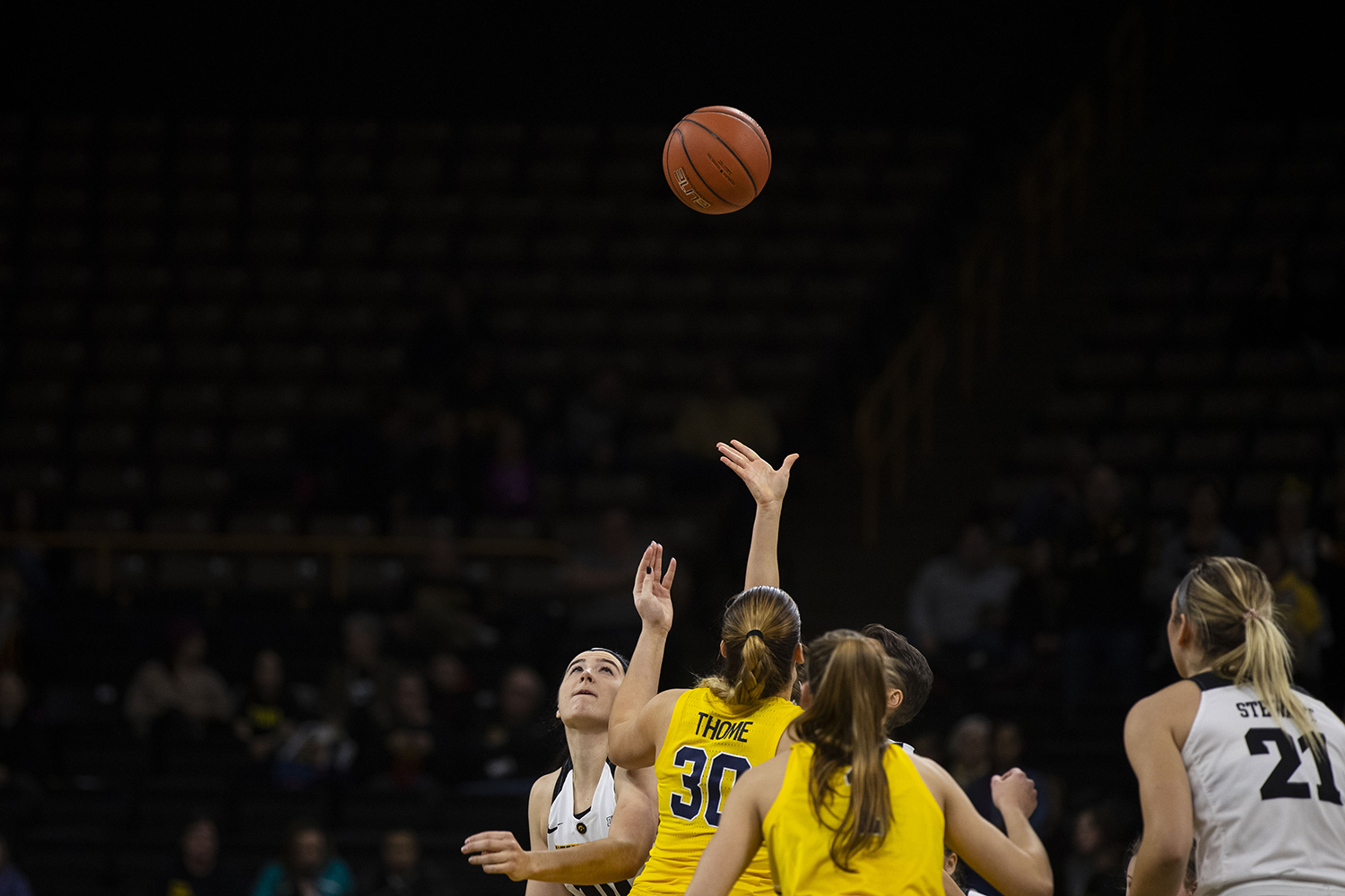 Iowa+and+Michigan+players+prepare+for+tipoff+during+the+Iowa%2FMichigan+women%27s+basketball+game+at+Carver-Hawkeye+Arena+on+Thursday%2C+January+17%2C+2019.+The+Hawkeyes+defeated+the+Wolverines%2C+75-61.+
