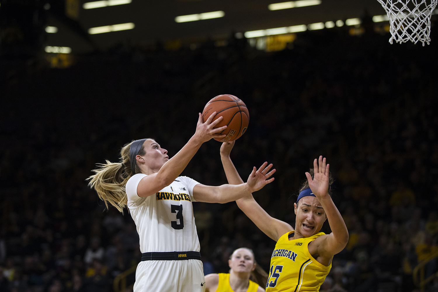 Iowa+guard+Makenzie+Meyer+attempts+a+layup+during+the+Iowa%2FMichigan+women%27s+basketball+game+at+Carver-Hawkeye+Arena+on+Thursday%2C+January+17%2C+2019.+The+Hawkeyes+defeated+the+Wolverines%2C+75-61.+