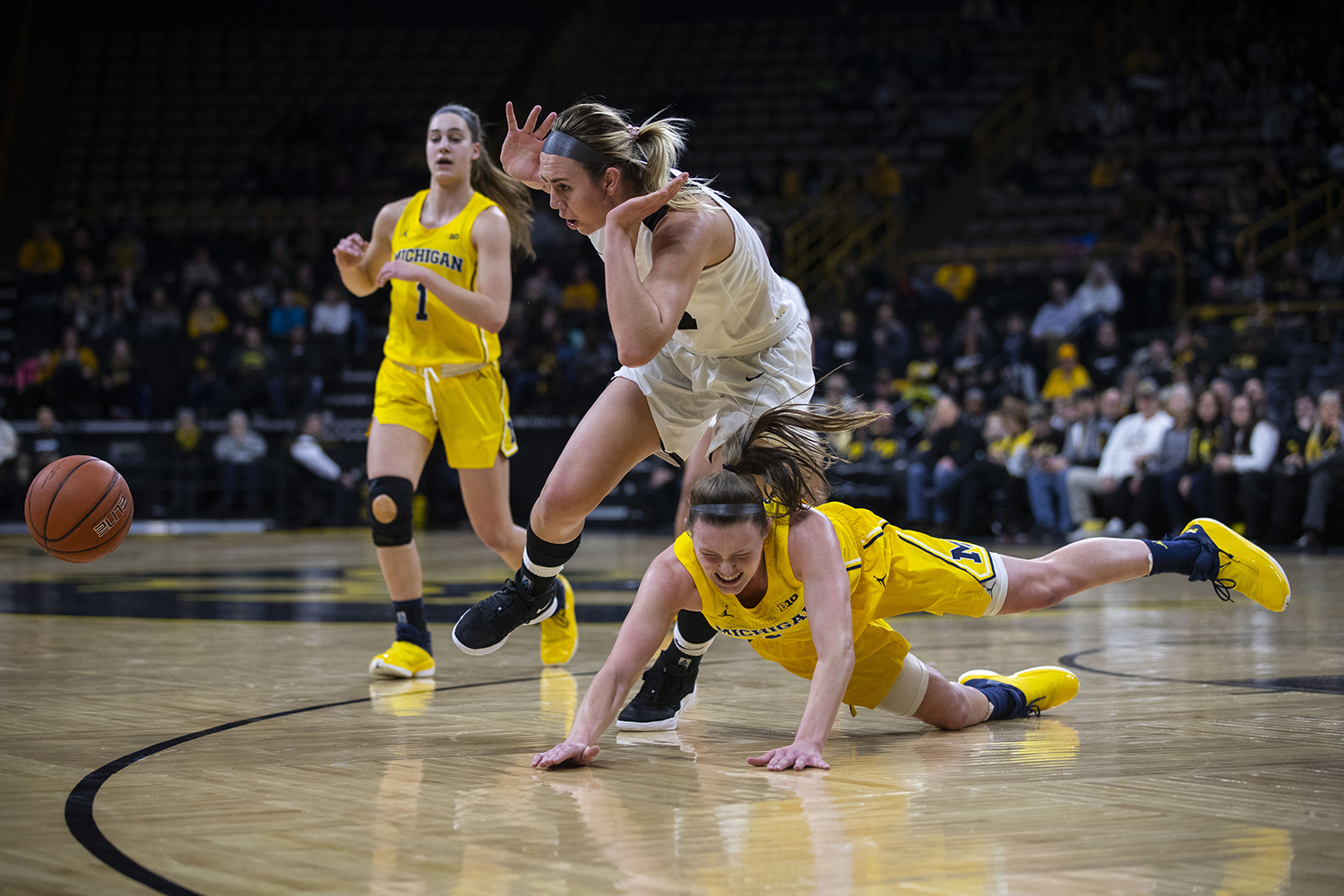 Iowa+forward+Hannah+Stewart+and+Michigan++during+the+Iowa%2FMichigan+women%27s+basketball+game+at+Carver-Hawkeye+Arena+on+Thursday%2C+January+17%2C+2019.+The+Hawkeyes+defeated+the+Wolverines%2C+75-61.+