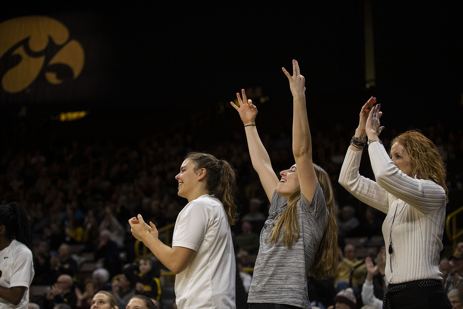 The+Iowa+bench+reacts+to+a+3+during+the+Iowa%2FMichigan+women%27s+basketball+game+at+Carver-Hawkeye+Arena+on+Thursday%2C+January+17%2C+2019.+The+Hawkeyes+defeated+the+Wolverines%2C+75-61.+