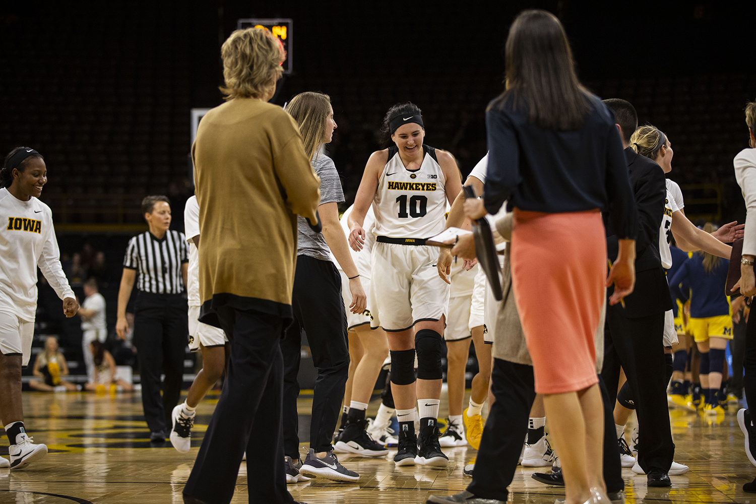 Iowa+forward+Megan+Gustafson+reacts+during+the+Iowa%2FMichigan+women%27s+basketball+game+at+Carver-Hawkeye+Arena+on+Thursday%2C+January+17%2C+2019.+The+Hawkeyes+defeated+the+Wolverines%2C+75-61.+