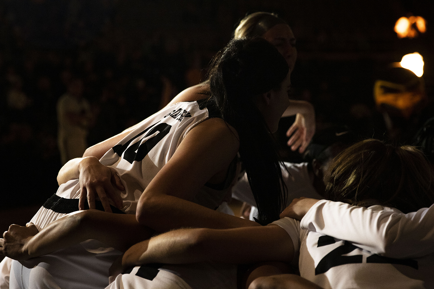 Iowa+forward+Megan+Gustafson+leans+into+the+pregame+huddle+during+the+Iowa%2FMichigan+women%27s+basketball+game+at+Carver-Hawkeye+Arena+on+Thursday%2C+January+17%2C+2019.+The+Hawkeyes+defeated+the+Wolverines%2C+75-61.+