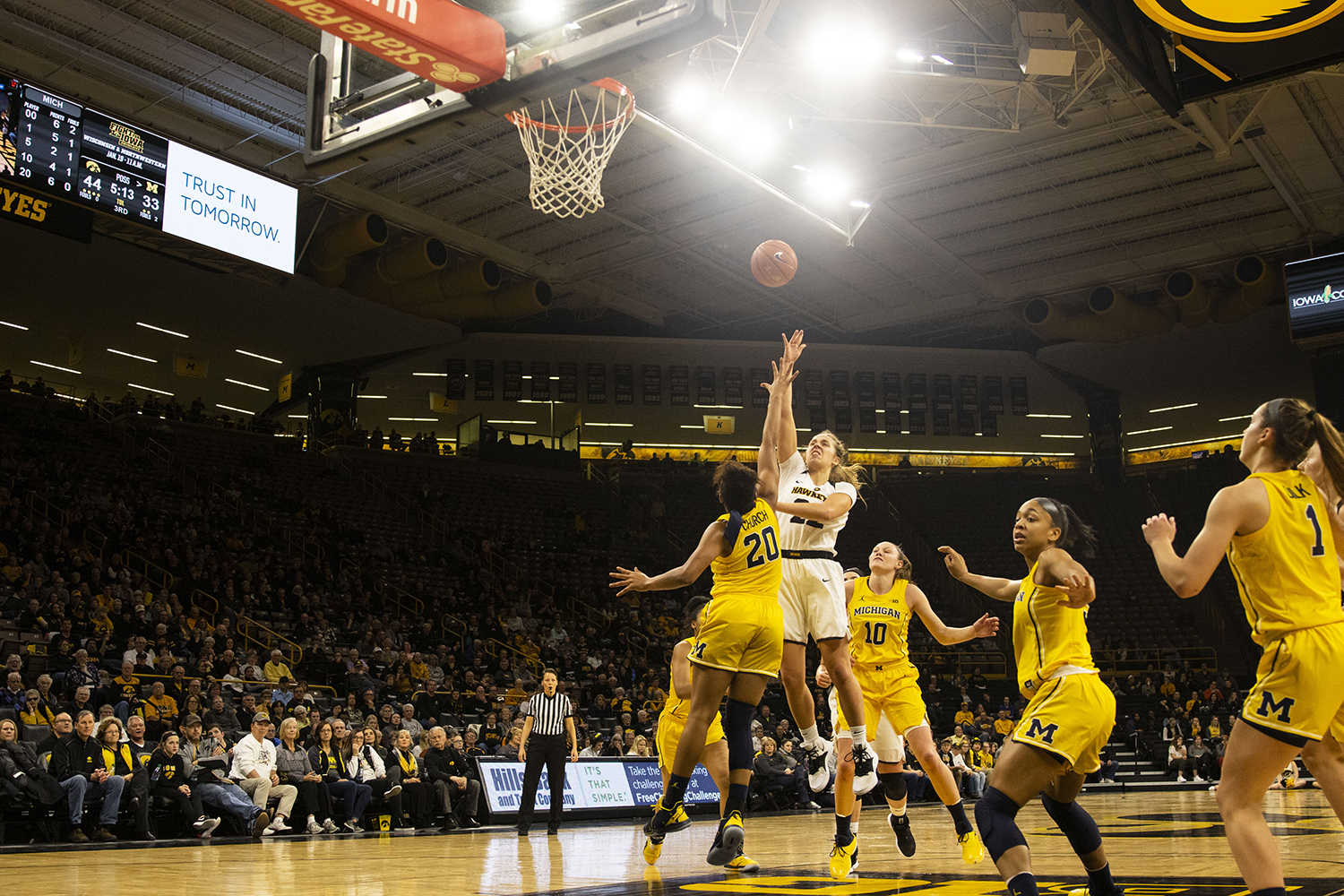 Iowa+guard+Kathleen+Doyle+attempts+a+shot+during+the+Iowa%2FMichigan+women%27s+basketball+game+at+Carver-Hawkeye+Arena+on+Thursday%2C+January+17%2C+2019.+The+Hawkeyes+defeated+the+Wolverines%2C+75-61.+