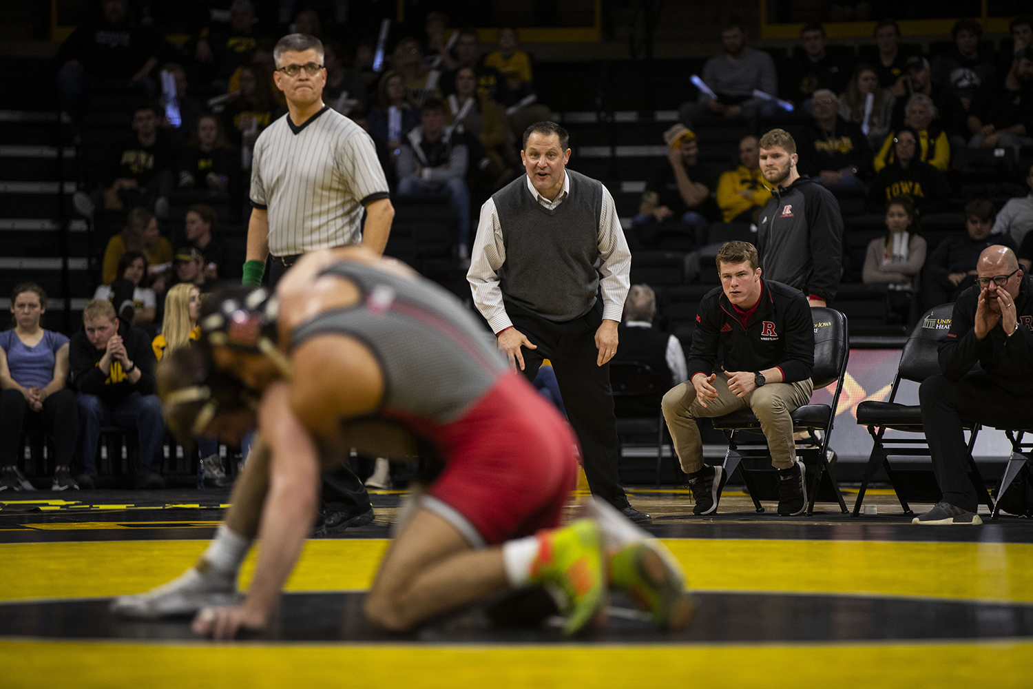 The+Rutgers+coaching+staff+watch+Iowa%27s+Mitch+Bowman+wrestle+Rutgers%27+Joseph+Grello+during+the+Iowa%2FRutgers+wrestling+meet+at+Carver-Hawkeye+Arena+on+Friday%2C+January+18%2C+2019.+Grello+defeated+Bowman%2C+3-0.+The+Hawkeyes+defeated+the+Scarlet+Knights%2C+30-6.+