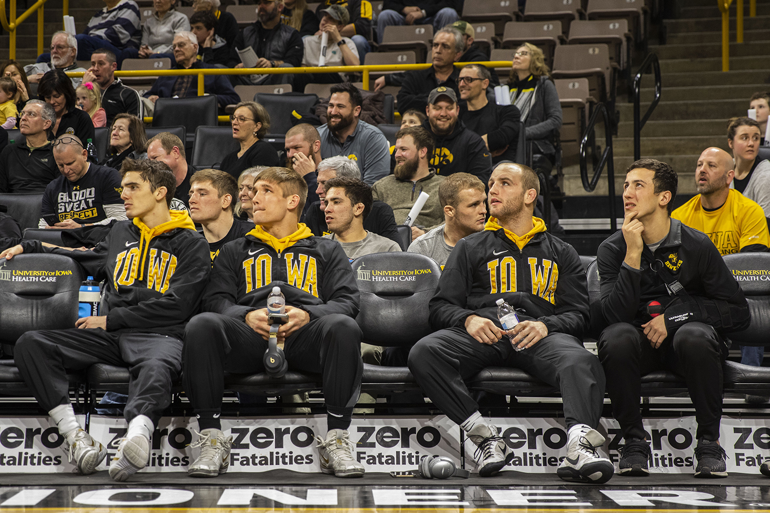 The+Iowa+bench+spectates+during+the+Iowa%2FRutgers+wrestling+meet+at+Carver-Hawkeye+Arena+on+Friday%2C+January+18%2C+2019.+The+Hawkeyes+defeated+the+Scarlet+Knights%2C+30-6.+