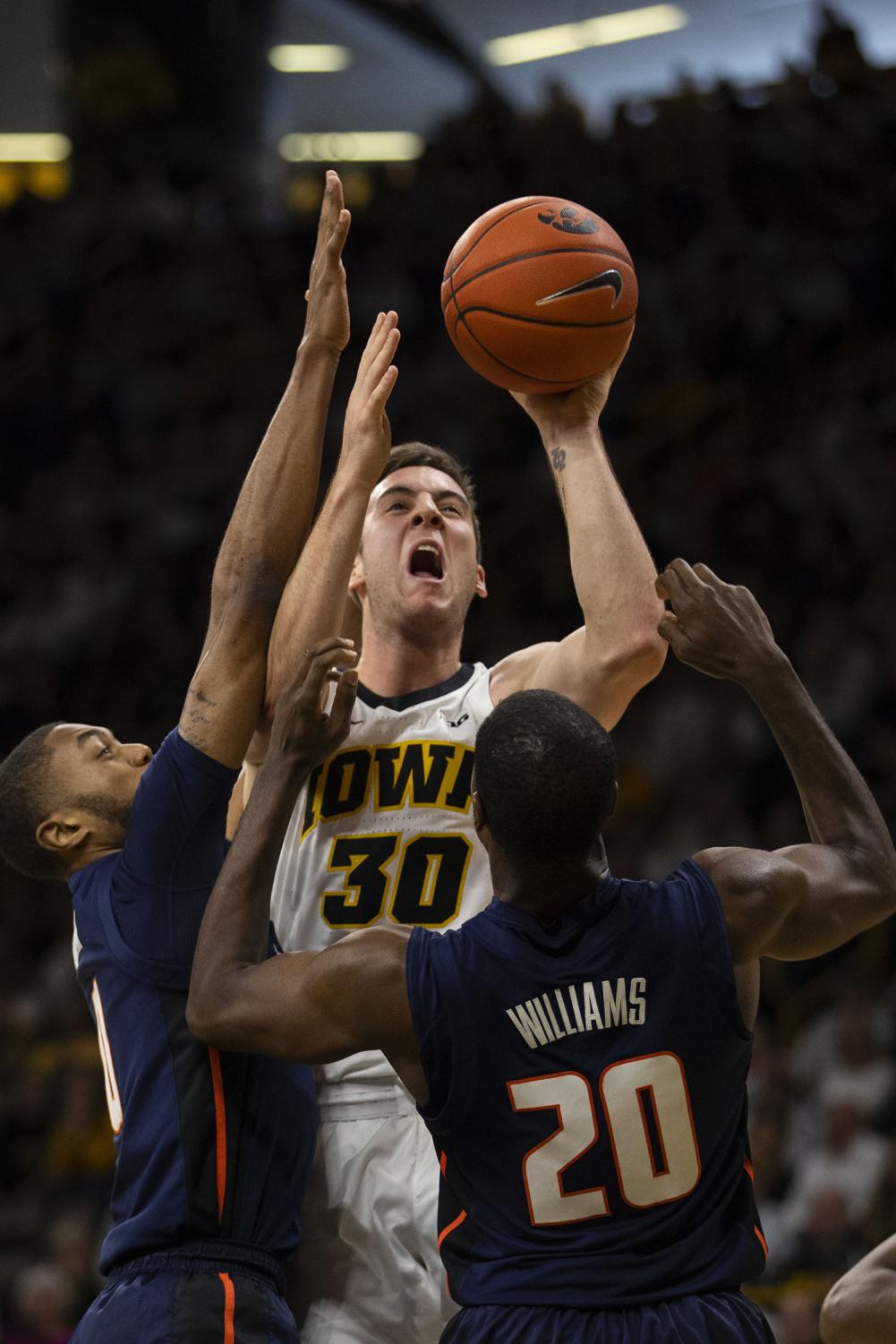 Iowa+guard+Connor+McCaffery+attempts+a+shot+during+the+Iowa%2FIllinois+men%27s+basketball+game+at+Carver-Hawkeye+Arena+on+Sunday%2C+January+20%2C+2019.+The+Hawkeyes+defeated+the+Fighting+Illini%2C+95-71.+