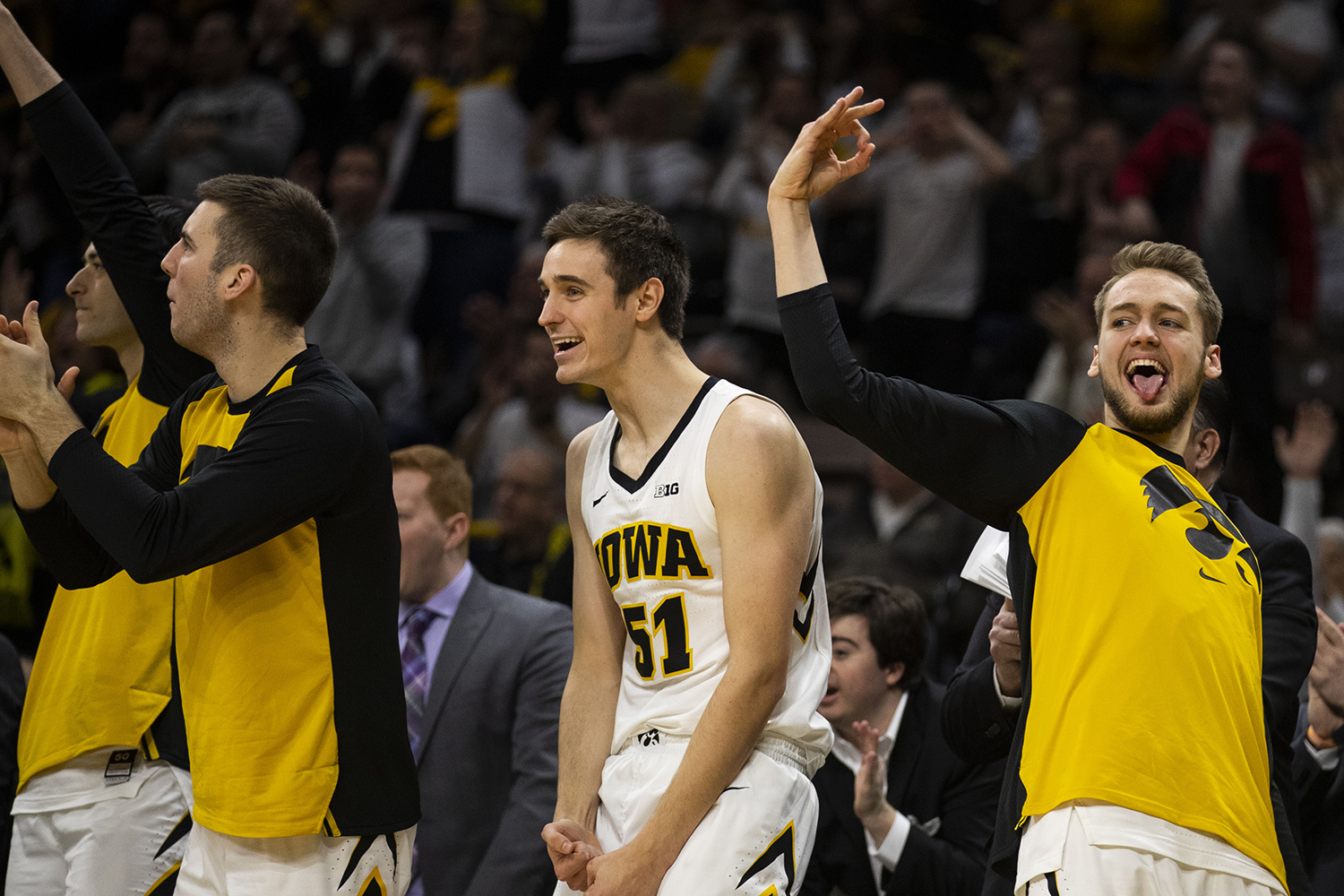 The+Iowa+bench+reacts+to+a+made+3-pointer+during+the+Iowa%2FIllinois+men%27s+basketball+game+at+Carver-Hawkeye+Arena+on+Sunday%2C+January+20%2C+2019.+The+Hawkeyes+defeated+the+Fighting+Illini%2C+95-71.+