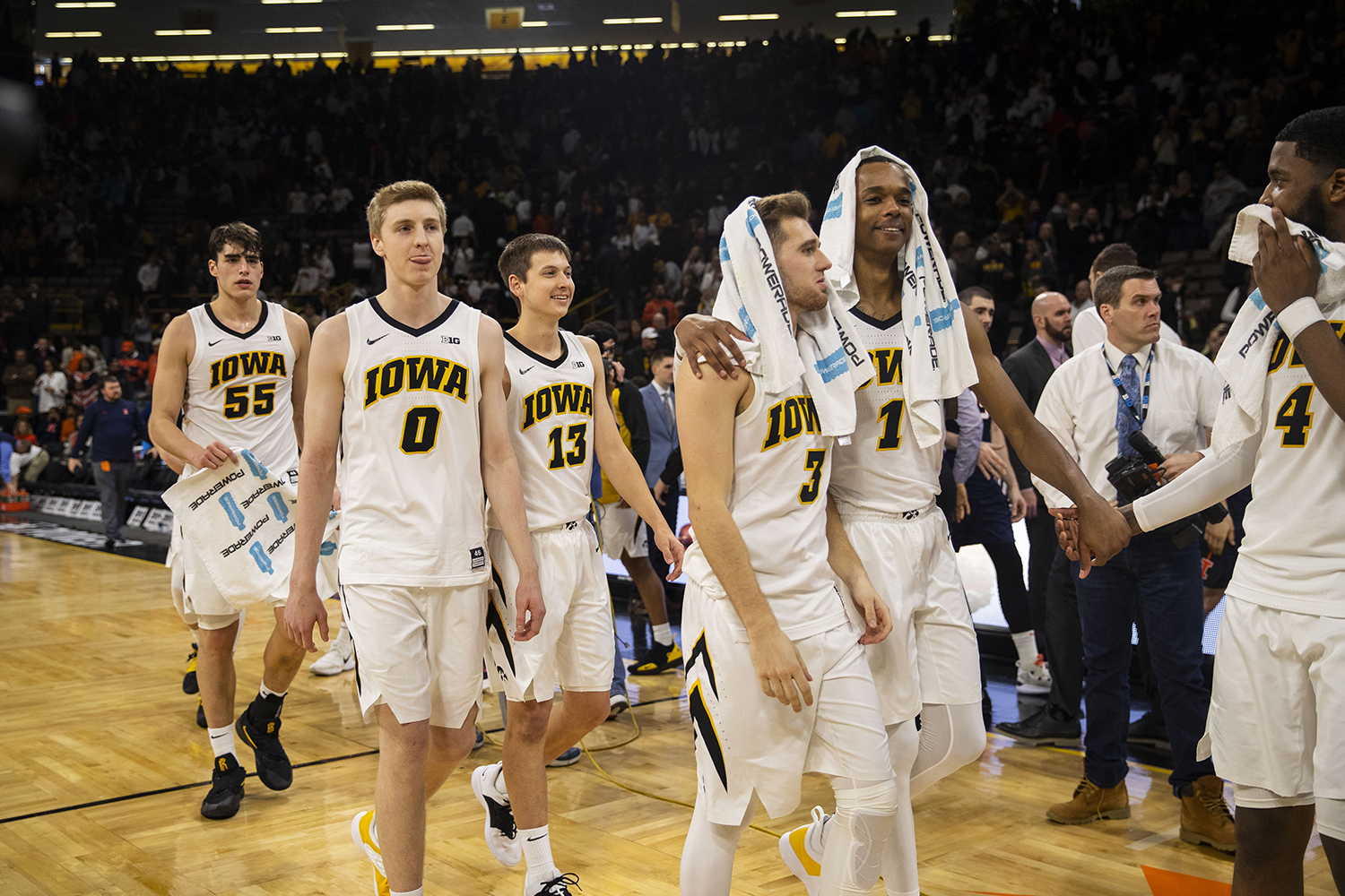 Iowa+players+celebrate+a+win+after+the+Iowa%2FIllinois+men%27s+basketball+game+at+Carver-Hawkeye+Arena+on+Sunday%2C+January+20%2C+2019.+The+Hawkeyes+defeated+the+Fighting+Illini%2C+95-71.+