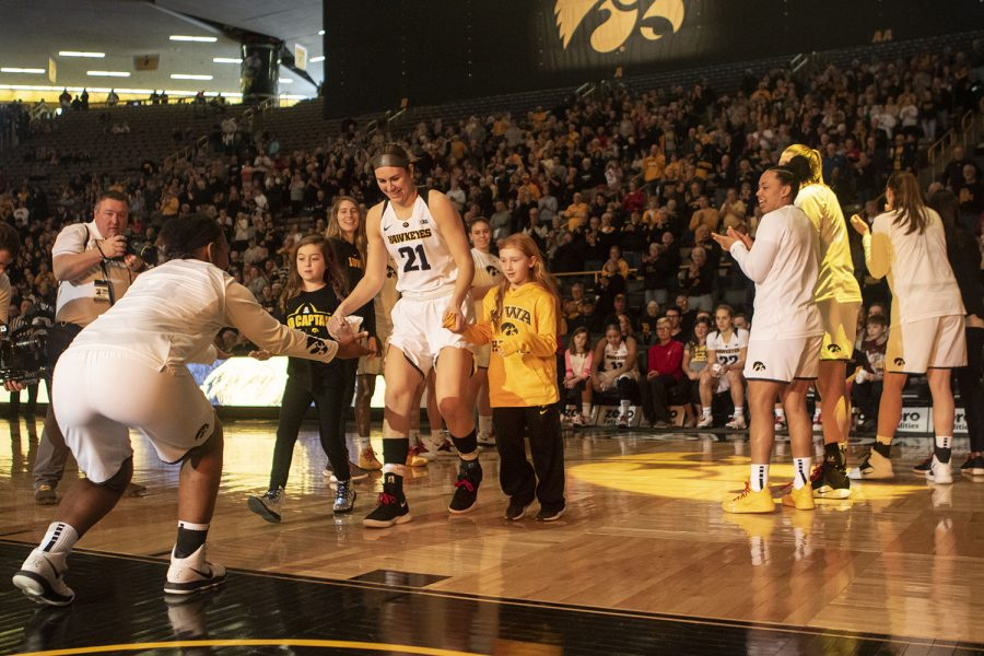 Iowa+forward+Hannah+Stewart+is+introduced+during+the+Iowa%2FPurdue+women%27s+basketball+game+at+Carver-Hawkeye+Arena+on+Sunday%2C+January+27%2C+2019.+The+Hawkeyes+defeated+the+Boilermakers%2C+72-58.+
