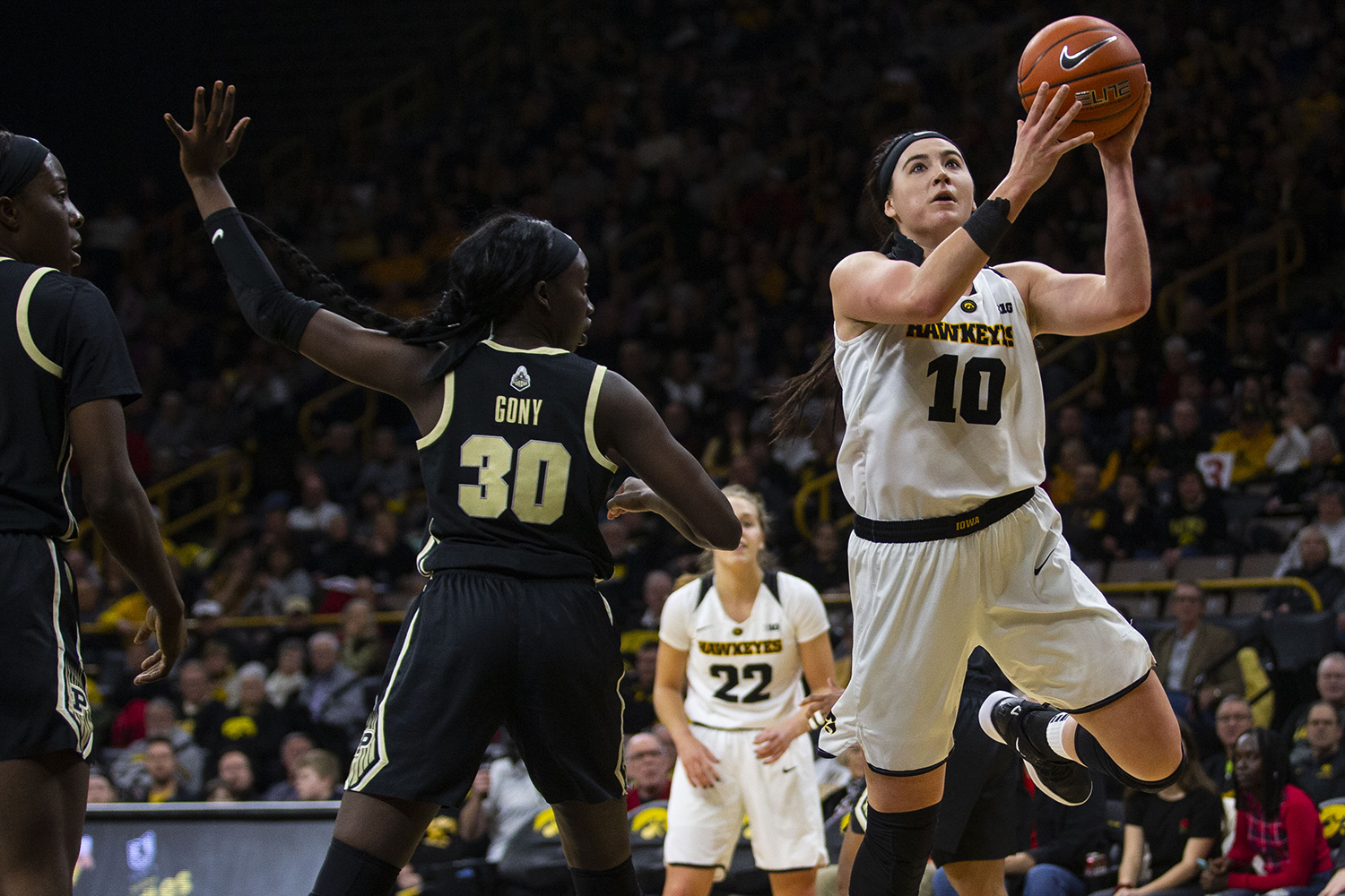 Iowa center Megan Gustafson attempts a shot during the Iowa/Purdue women's basketball game at Carver-Hawkeye Arena on Sunday, January 27, 2019. The Hawkeyes defeated the Boilermakers, 72-58.