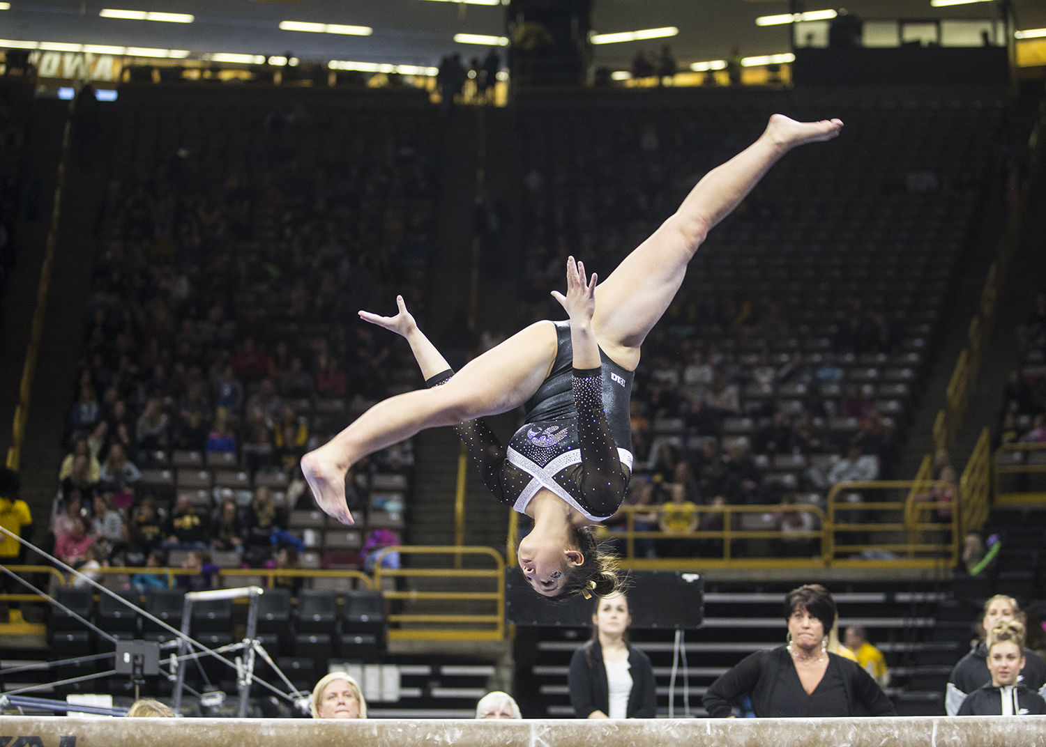 An+Iowa+gymnast+warms+up+for+the+balance+beam+event+at+a+meet+against+Rutgers+on+Saturday%2C+January+26%2C+2019.+The+Hawkeyes+defeated+the+Scarlet+Knights+194.575+to+191.675.+