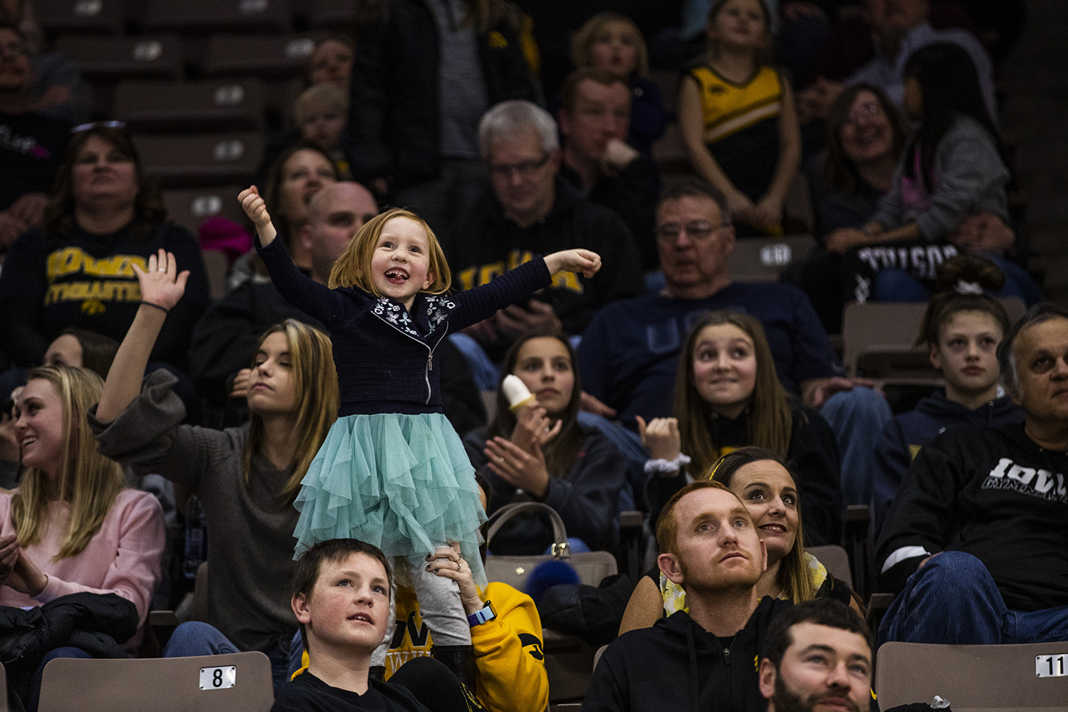 A+young+fan+dances+for+the+%22dance+cam%22+during+the+women%27s+gymnastics+meet+vs.+SEMO+at+Carver-Hawkeye+Arena+on+Friday%2C+January+11%2C+2019.+The+GymHawks+defeated+the+Redhawks+194.700-180.925.+