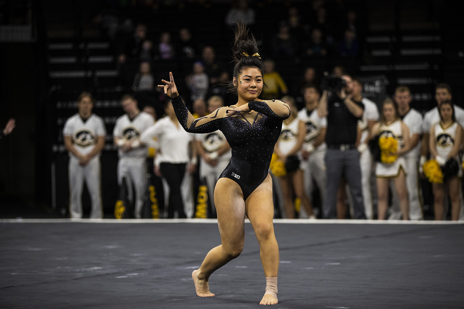 Iowa+gymnast+Misty-Jade+Carlson+performs+on+the+floor+during+the+women%27s+gymnastics+meet+vs.+SEMO+at+Carver-Hawkeye+Arena+on+Friday%2C+January+11%2C+2019.+The+GymHawks+defeated+the+Redhawks+194.700-180.925.+