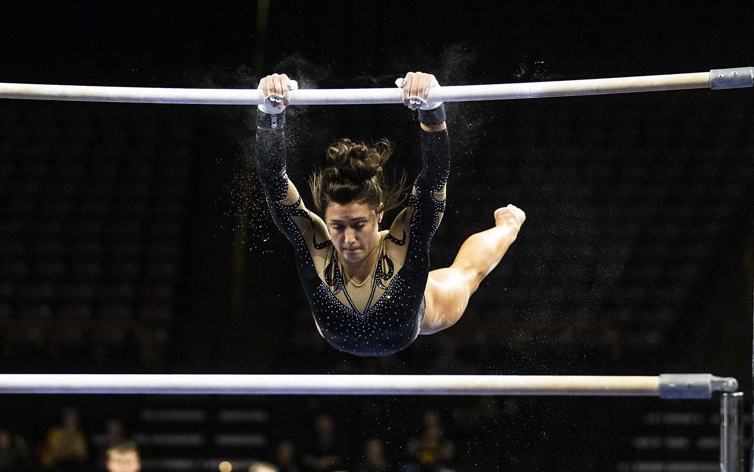 Iowa+gymnast+Jax+Kranitz+performs+on+the+uneven+bars+during+the+women%27s+gymnastics+meet+vs.+SEMO+at+Carver-Hawkeye+Arena+on+Friday%2C+January+11%2C+2019.+The+GymHawks+defeated+the+Redhawks+194.700-180.925.+