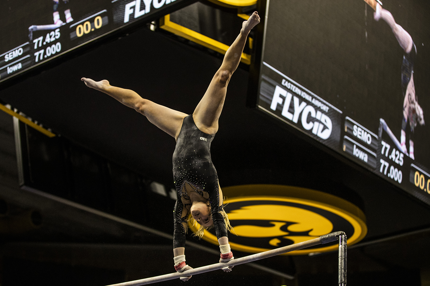 Iowa+gymnast+Charlotte+Sullivan+performs+on+the+uneven+bars+during+the+women%27s+gymnastics+meet+vs.+SEMO+at+Carver-Hawkeye+Arena+on+Friday%2C+January+11%2C+2019.+The+GymHawks+defeated+the+Redhawks+194.700-180.925.+