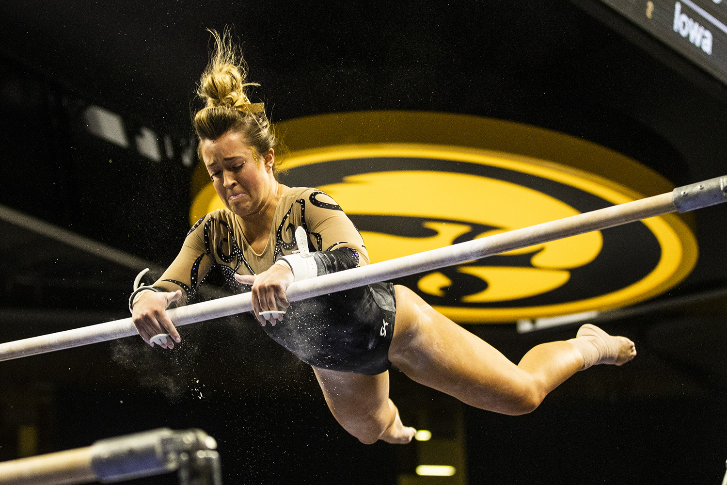 Iowa+gymnast+Maddie+Kampschroeder+performs+on+the+uneven+bars+during+the+women%27s+gymnastics+meet+vs.+SEMO+at+Carver-Hawkeye+Arena+on+Friday%2C+January+11%2C+2019.+The+GymHawks+defeated+the+Redhawks+194.700-180.925.+
