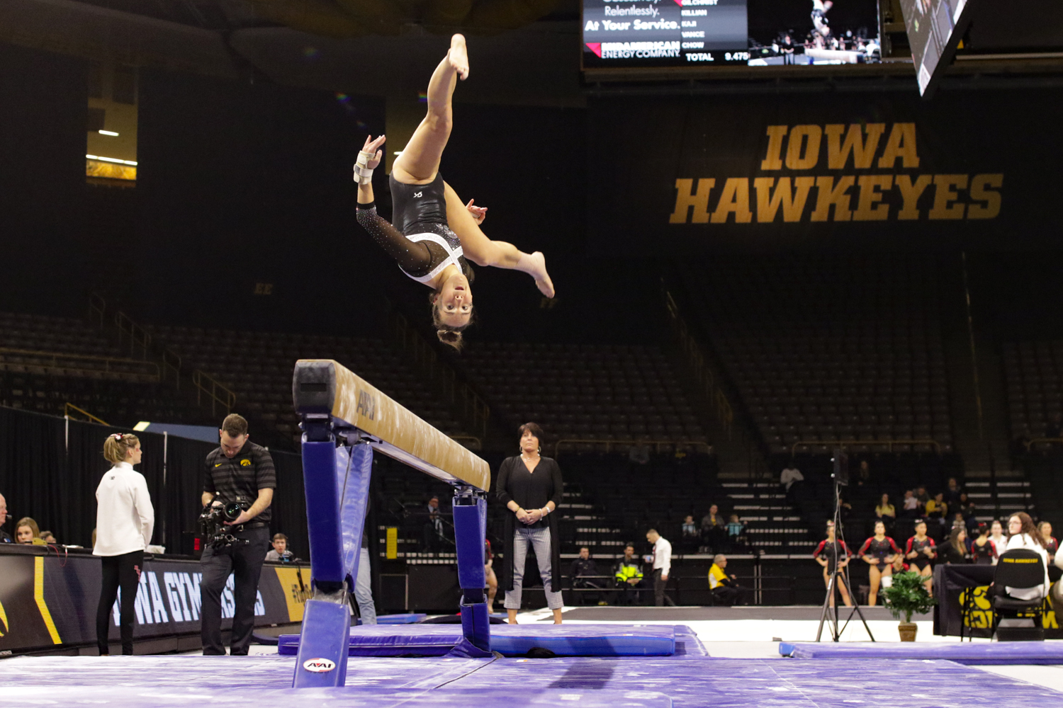 Iowa+Gymnast+Allie+Gilchrist+performs+on+the+balance+beam+during+a+gymnastics+meet+against+Rutgers+on+Saturday%2C+Jan.+26%2C+2019.+The+Hawkeyes+defeated+the+Scarlet+Knights+194.575+to+191.675.+