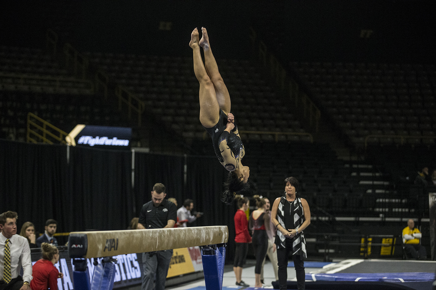 Iowa+gymnast+Misty-Jade+Carlson+performs+on+the+beam+during+women%27s+gymnastics+vs.+SEMO+at+Carver-Hawkeye+Arena+on+Friday%2C+January+11%2C+2019.+The+GymHawks+defeated+the+Redhawks+194.700-180.925.+