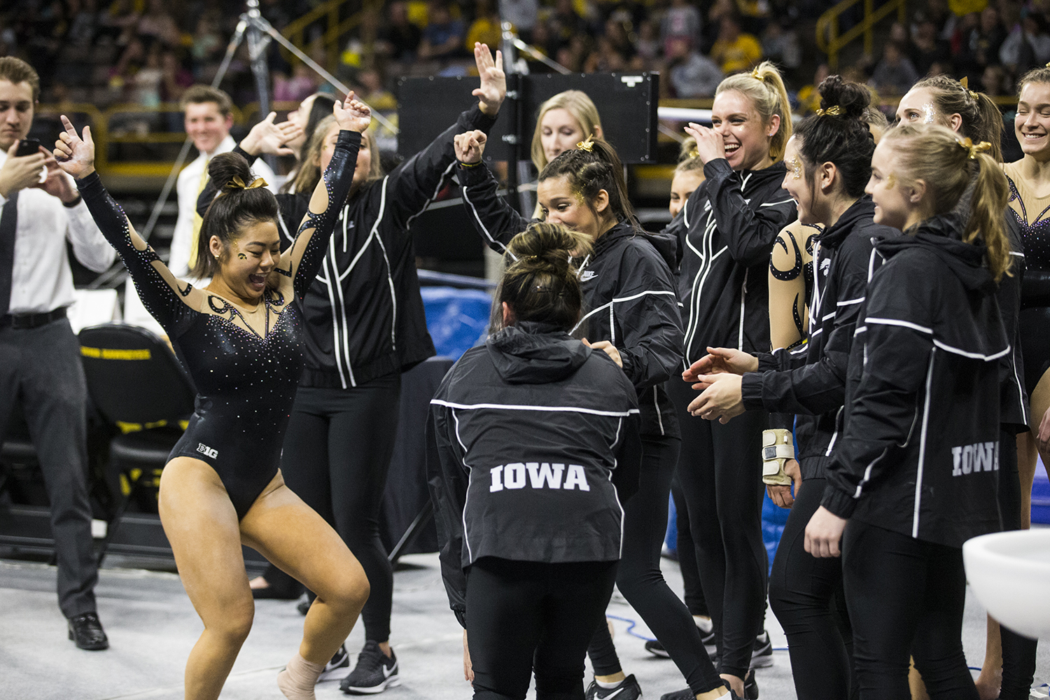 Iowa+gymnasts+celebrate+after+their+performances+during+women%27s+gymnastics+vs.+SEMO+at+Carver-Hawkeye+Arena+on+Friday%2C+January+11%2C+2019.+The+GymHawks+defeated+the+Redhawks+194.700-180.925.+