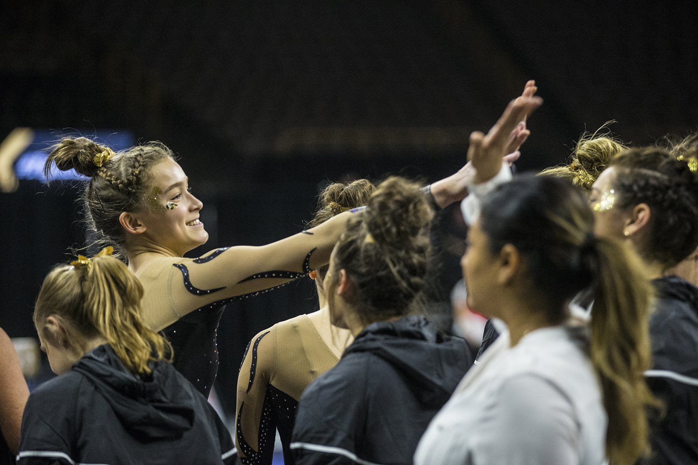 Iowa+gymnast+Mackenzie+Vance+celebrates+with+her+team+mates+during+women%27s+gymnastics+vs.+SEMO+at+Carver-Hawkeye+Arena+on+Friday%2C+January+11%2C+2019.+The+GymHawks+defeated+the+Redhawks+194.700-180.925.+