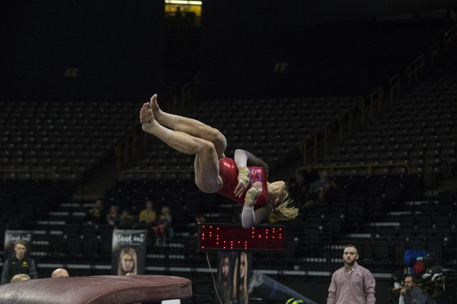 During+women%27s+gymnastics+vs.+SEMO+at+Carver-Hawkeye+Arena+on+Friday%2C+January+11%2C+2019%2C+SEMO+gymnast%2C+Mackenzie+Slee%2C+vaults.+