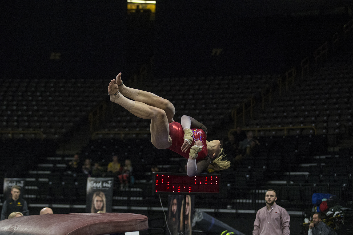 During women's gymnastics vs. SEMO at Carver-Hawkeye Arena on Friday, January 11, 2019, SEMO gymnast, Mackenzie Slee, vaults.