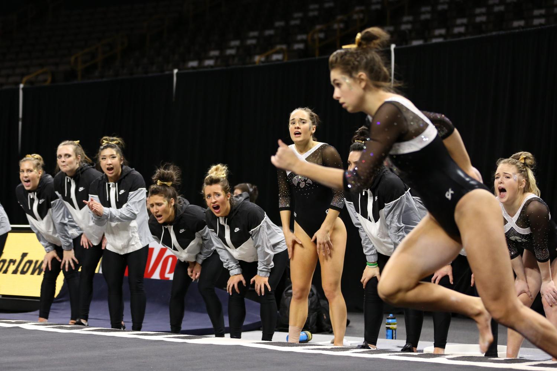 Iowa+Gymnasts+cheer+on+Bridget+Killian+during+a+gymnastics+meet+against+Rutgers+on+Saturday%2C+Jan.+26%2C+2019.+The+Hawkeyes+defeated+the+Scarlet+Knights+194.575+to+191.675.+