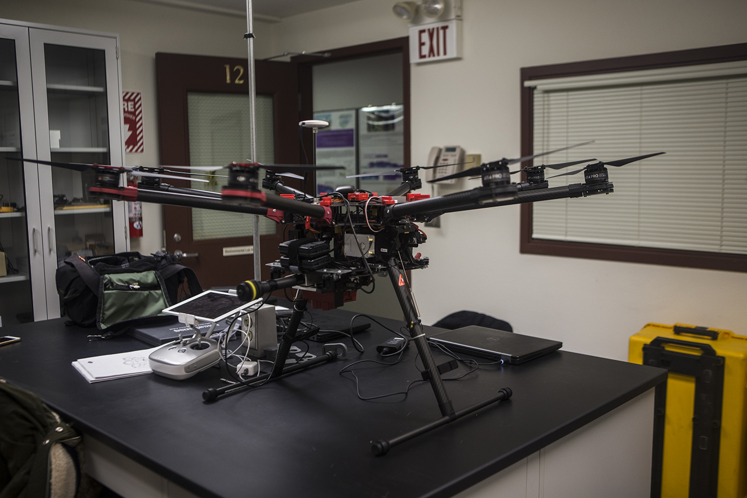 Drone seen in environmental sciences lab on the University of Iowa Campus on Monday, January 14, 2019. Graduate student Sarah Douglas will use the drone to conduct research on algae in Iowa.