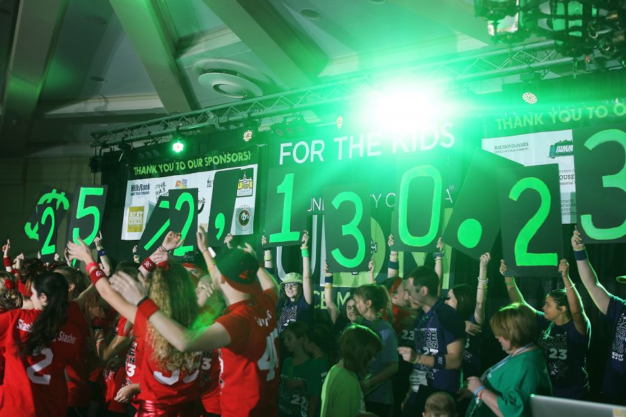 The amount of money raised is revealed during the  24th hour of the 23rd Dance Marathon in the Main Ballroom of the Iowa Memorial Union on Saturday, Feb. 4, 2017. This year UIDM raised $2,572,130.23.