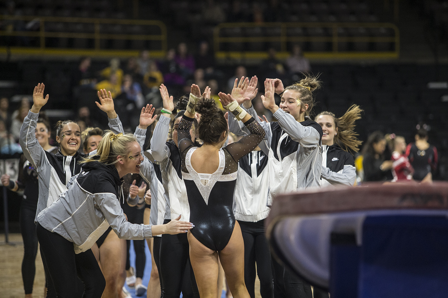Iowa+gymnast+Bridget+Killian+celebrates+after+her+vault+event+in+a+match+against+Rutgers+on+Saturday%2C+January+26%2C+2019.+The+Hawkeyes+defeated+the+Scarlet+Knights+194.575+to+191.675.+