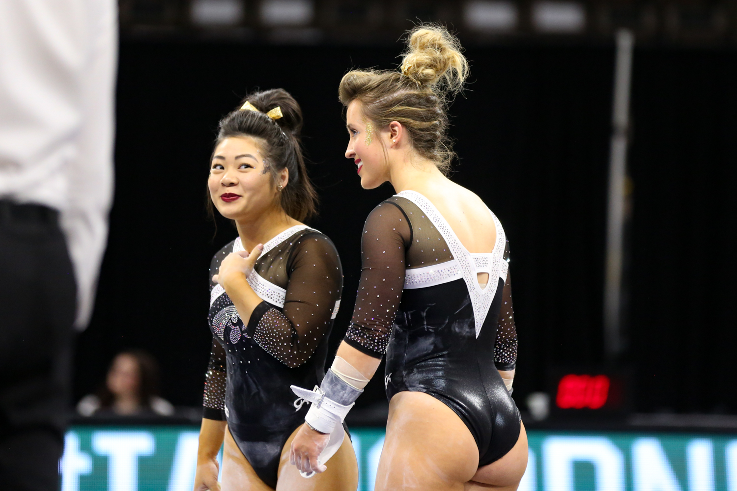 Iowa+Gymnasts+Claire+Kaji+and+Maddie+Kampschroeder+share+a+laugh+during+a+gymnastics+meet+against+Rutgers+on+Saturday%2C+Jan.+26%2C+2019.+The+Hawkeyes+defeated+the+Scarlet+Knights+194.575+to+191.675.+
