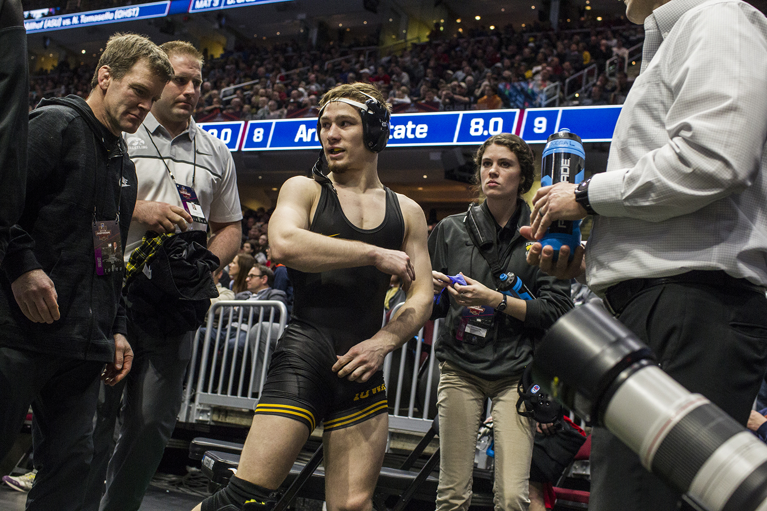 Iowa's 125-pound Spencer Lee walks off the mat after defeating Purdue's Luke Welch during Session 2 of the NCAAs Wrestling Championships at Quicken Loans Arena in Cleveland, OH on Thursday, March 15, 2018.