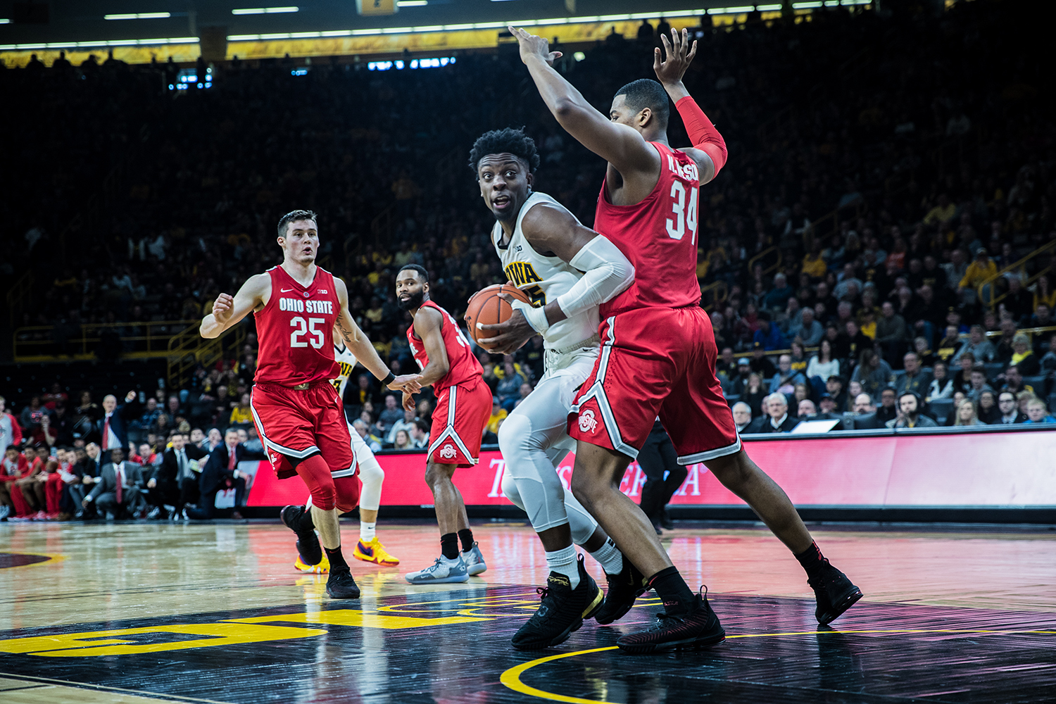 Iowa forward Tyler Cook drives to the net during a men's basketball matchup between Ohio State and Iowa at Carver-Hawkeye Arena on Saturday, January 12, 2019.