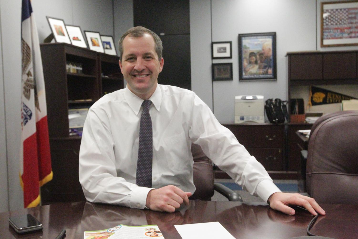 Iowa Secretary of Agriculture Mike Naig poses for a photo in his office in Des Moines on Jan. 14, 2019.